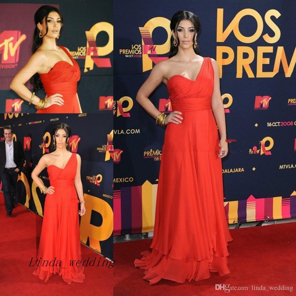 8c778084759 Kim Kardashian Evening Dress Red Carpet Chiffon Long One Shoulder Celebrity  Occasion Dresse Prom Dress Party Gown Black Dress Dresses Online From ...
