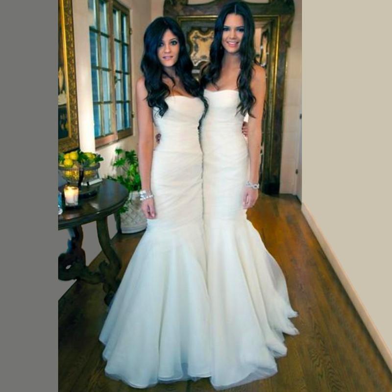 New Longo Querida Sereia Vestidos de Dama de honra Elegante Tule Drapeado Vestidos de Noite Simples Festa de Casamento Branca vestido de festa Longo
