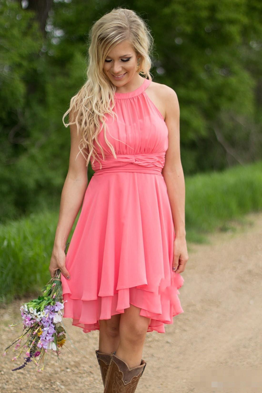 2019 Queda Cheap Country Coral dama de honra vestidos de jóias chiffon joelho comprimento de casamento desenhista desgaste vestido vestido de honra