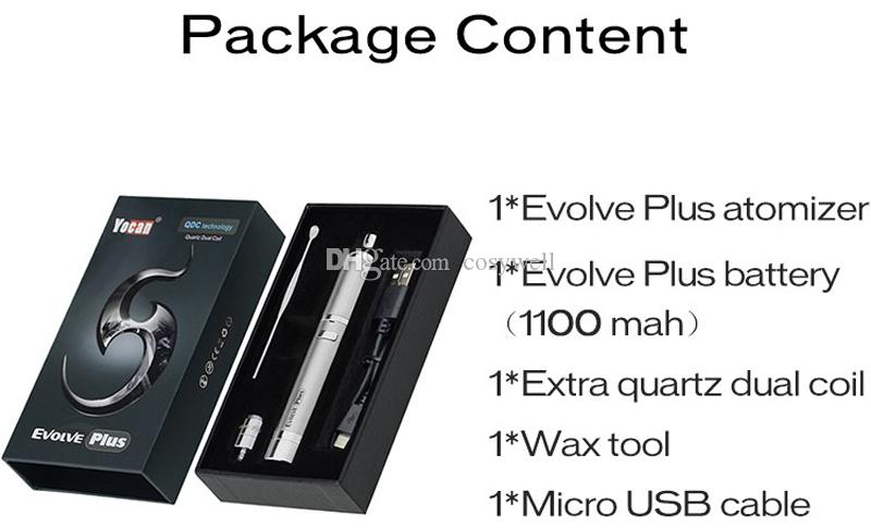 Authentic Yocan Evolve Plus Wax Starter Kits 1100mah Battery Quartz Dual Coil Silicone Jar e cigarette vaporizer evolve plus atomizer