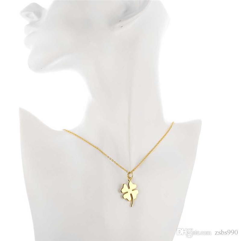 18K plaqué or trèfle bonheur pendentif collier mode bijoux cadeau de noël pour femme bonne qualité prix bas gros livraison gratuite