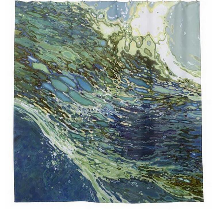 Customs 36/48/60/66/72/80 W x 72 H Inch Shower Curtain Blue Ocean Waterproof Polyester Fabric DIY Shower Curtain