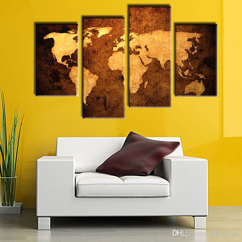 4 Picture Combination Prints Canvas Old Map Wall Art Canvas ...