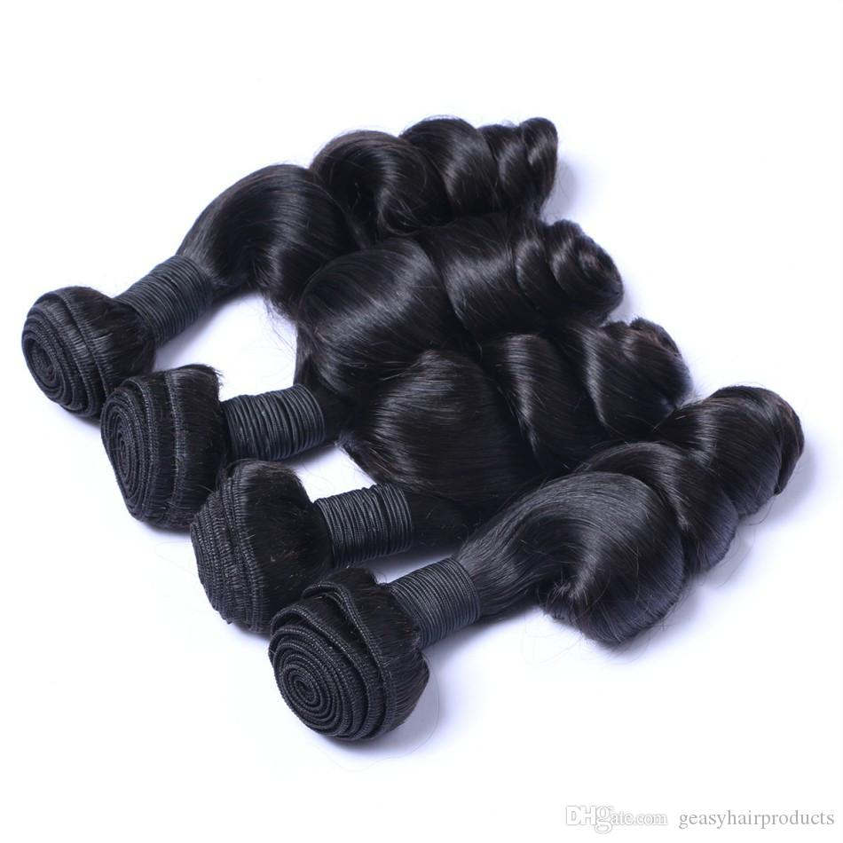 Brazilian loose wave hair weave Unprocessed Wavy Hair Brazilian Human Hair Bundles 8-30inch Natural Black G-EASY