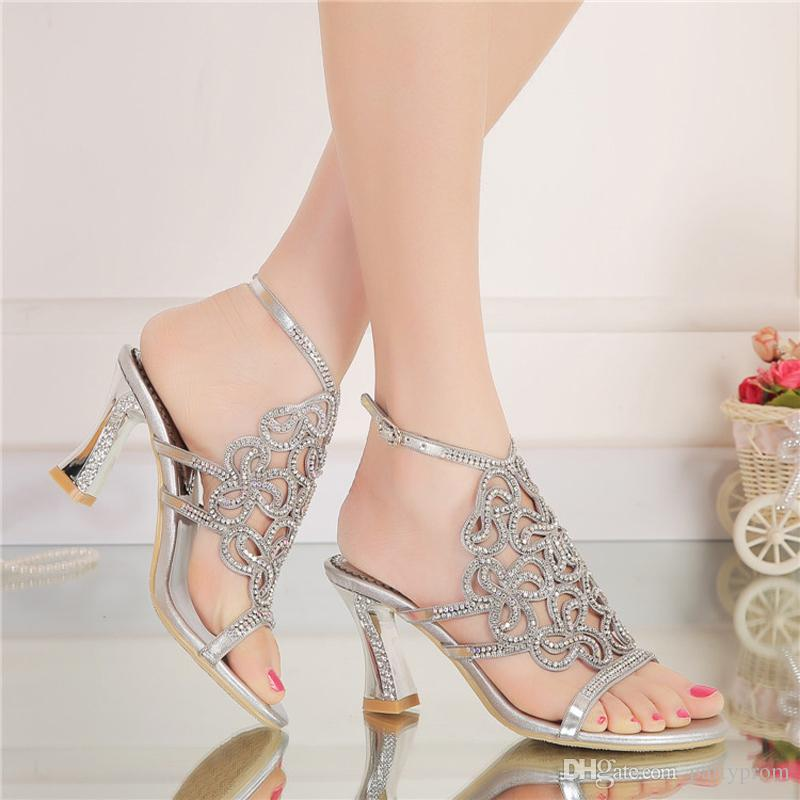 Women Summer Sandals High Quality Silver Rhinestone Bridal Dress Sandals For Summer Open Toe Sparkling Wedidng Party Shoes