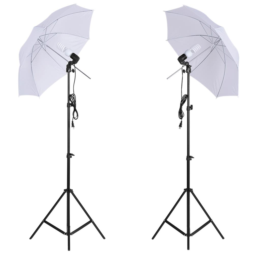 Freeshipping Photo Studio Kit Softbox Guarda-chuva com suporte da lâmpada suporte de luz da lâmpada Black White Green Screen Backdrop