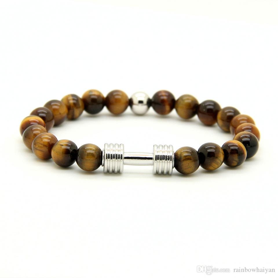 Hot Real Gold Silver Plated Metal New Barbell 8mm Gray Picture Jasper Un grado Tiger Stone Beads Fitness Fashion Dumbbell Pulseras