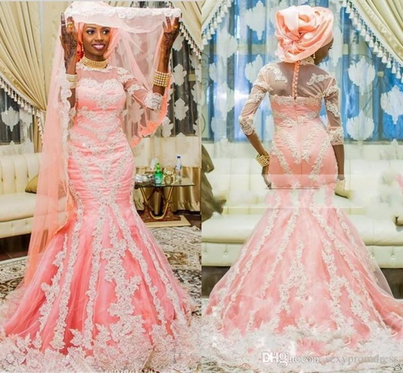 Gorgeous Muslim Wedding Dresses Pink Lace Applique Sequined Three ...