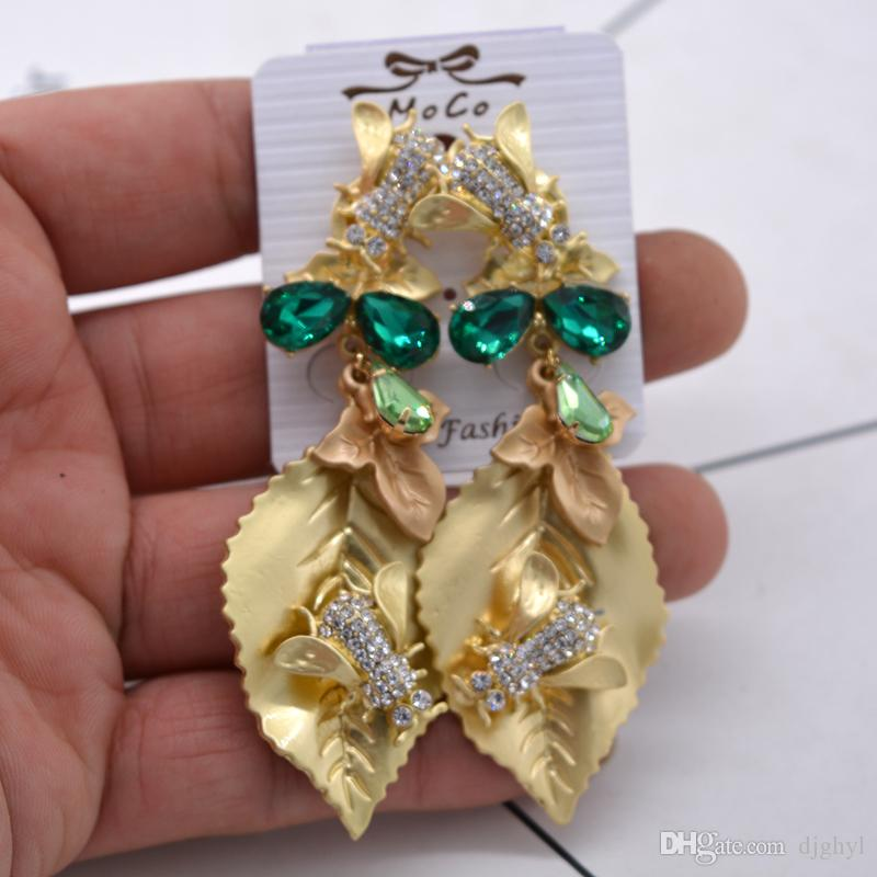 2018 New Fashion Baroque Retro Crystal Leaf Big Dangle Earrings Gold Color Long Earrings For Women Fine Jewelry Gift