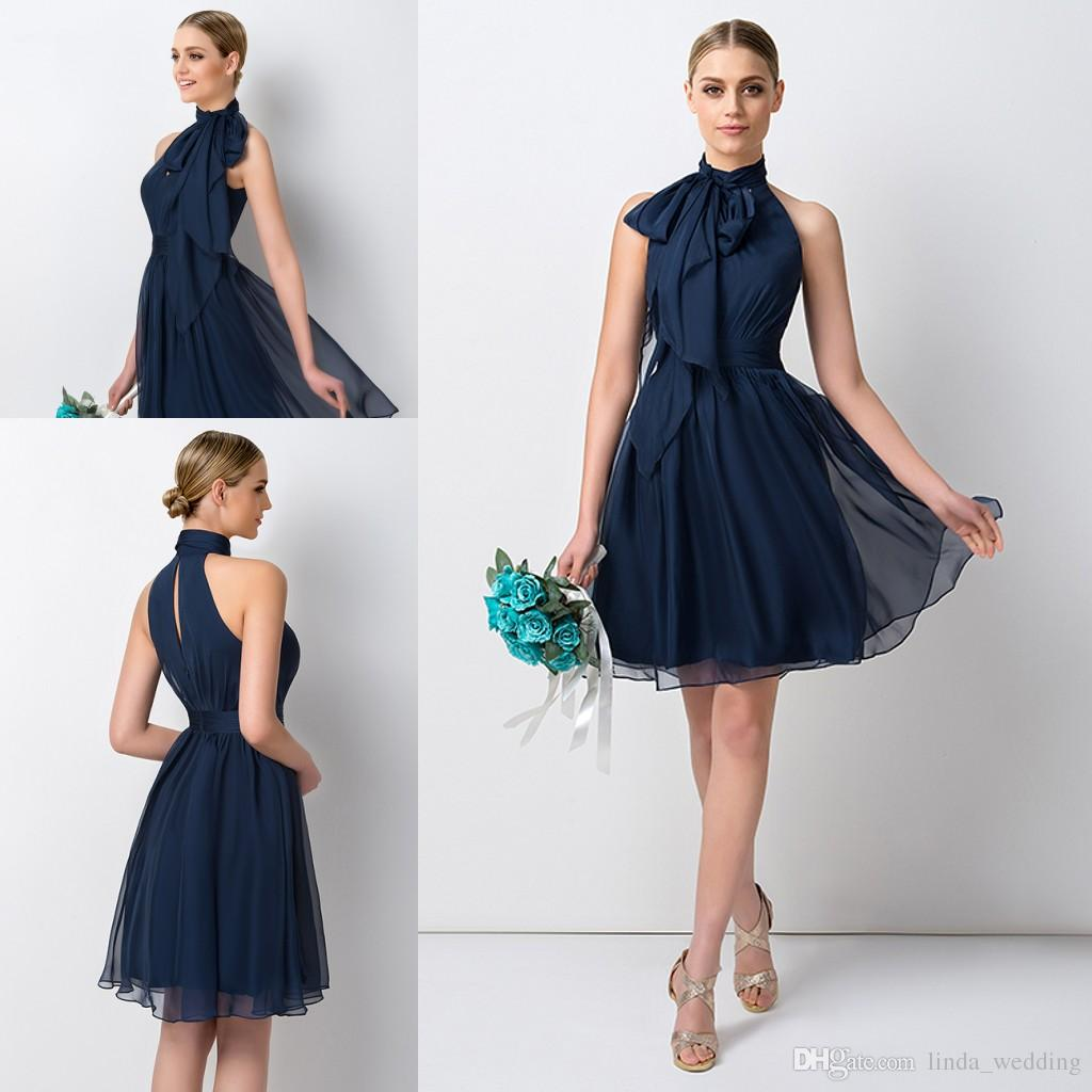 Navy Blue Short Bridesmaid Dress High Neck Chiffon Maid Of Honor Dress For Junior Wedding Party Gown