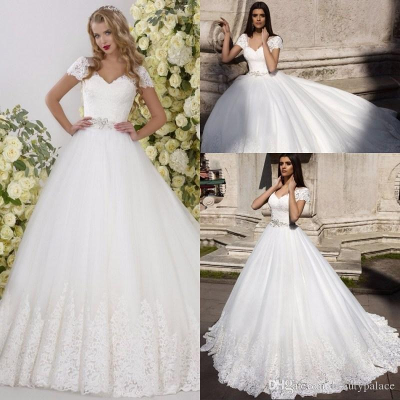 Discount new design short sleeves wedding dress 2017 v neck a line discount new design short sleeves wedding dress 2017 v neck a line appliques lace tulle bridal gowns with belt robe de mariage chapel train best wedding junglespirit Image collections