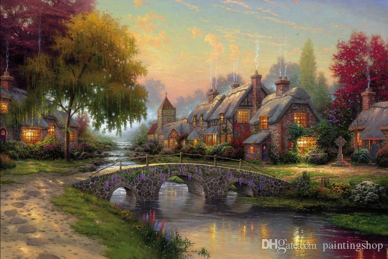 Thomas Kinkade Landscape Oil Painting Reproduction High Quality Giclee Print on Canvas Modern Home Art Decor TK018