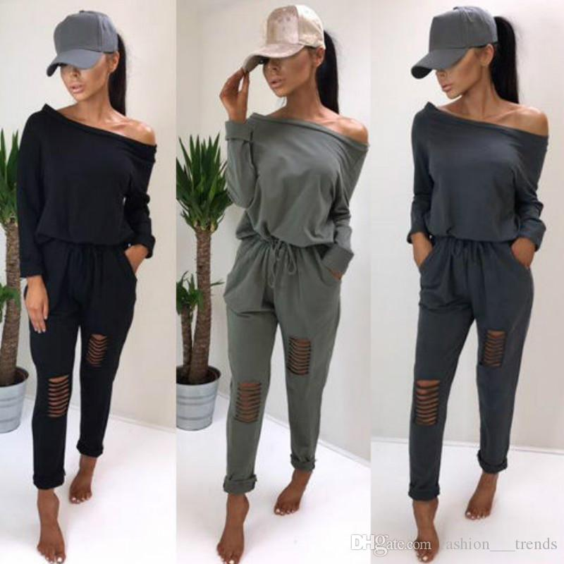 52543f2e24b0 2019 Sexy Style Elegant Long Sleeve Jumpsuits Fashion Slash Neck Off  Shoulder Hole Nightclub Jumpsuit Casual Rompers Overalls Playsuit Bodysuit  From ...