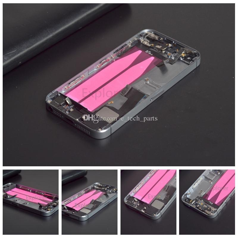 Yan Düğmeler Kablo ile Küçük Parçalar Montaj Değiştirilmesi iPhone 5 5S 5G Komplet Tam Konut Arka Kapak Pil Kapak Yepyeni