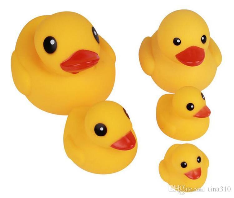 Бесплатная доставка новый ребенок ванна воды игрушки звуки желтый резиновые утки дети купаются дети плавание пляж утка игрушки утки подарки GC66