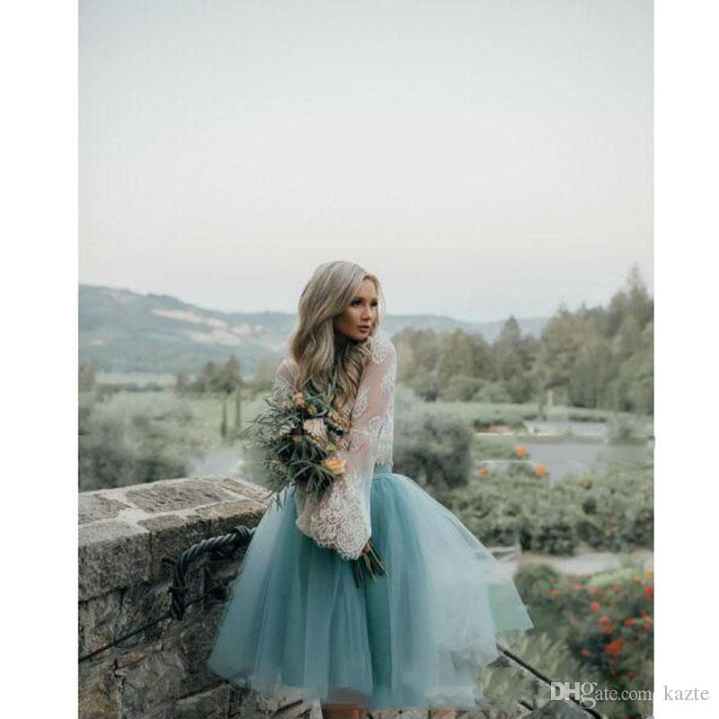 Short Homecoming Prom Dresses Günstige Weiß und Mint Lace Short Zweiteiler Langarm Illusion Boho Graduation Trendy Abendkleider