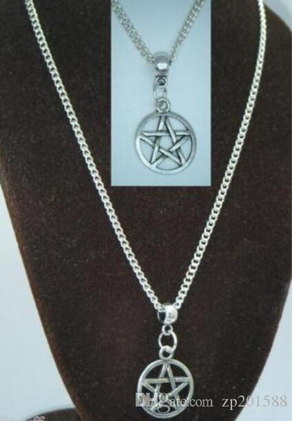 Vintage Silver Pentacle Pentagram Charms Choker Collar Necklaces&Pendants For Women Gift DIY Jewelry Fashion Accessories Souvenir Hot Q56