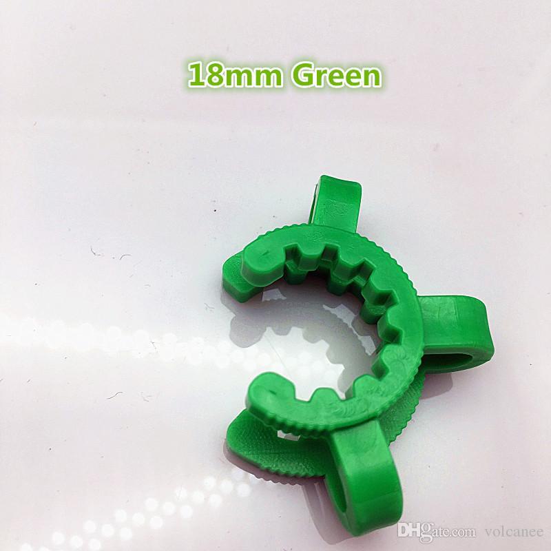 Pluie 14mm 19mm Plastique Keck Clip Green Laboratory Laborator ACCESSOIRES SUR VERROUILLAGE PLAMP ADAPTATEUR DE VERRE POUR BONG Nector Collector
