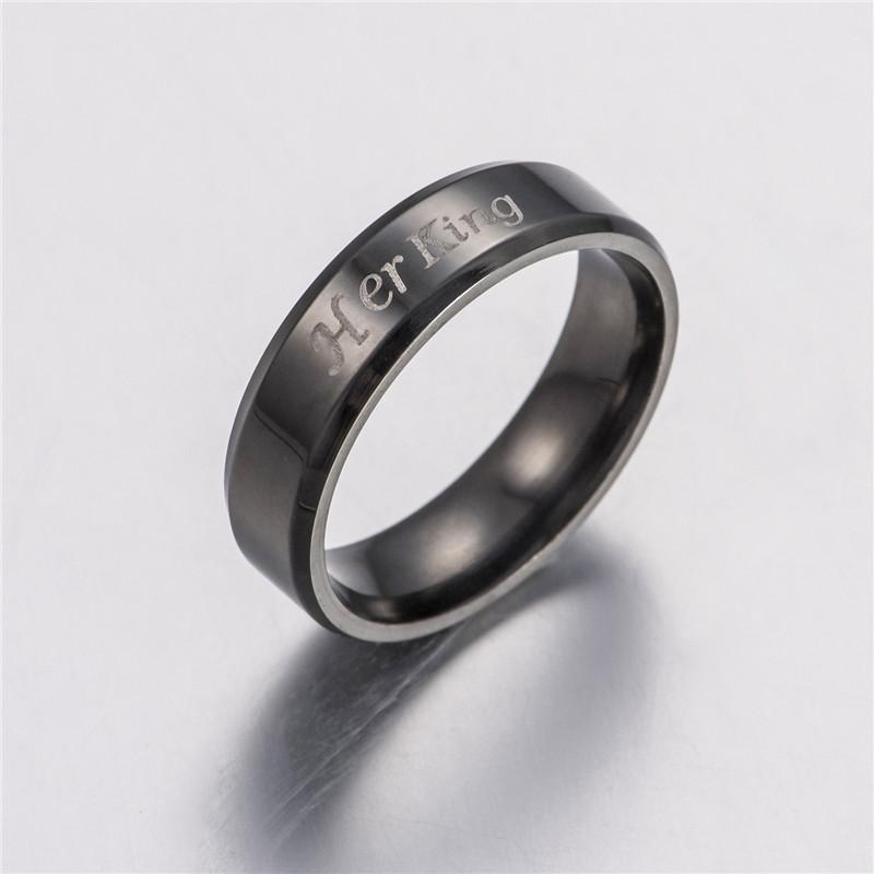 Ее король его королева пара кольцо из нержавеющей стали группа кольцо пара обручальные кольца для женщин мужчины ювелирные изделия подарок груза падения