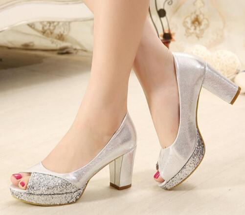 Silver Party Shoes Mid Heel