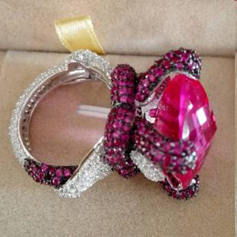 Qi Xuan_ Jewelry_Big Rubellite Cocktails de lujo Snake Rings_S925 Sterling Silver Chapado en oro blanco Rings_Factory Directly Sales