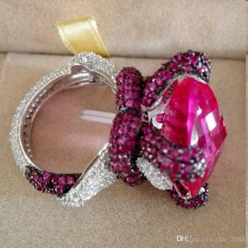 Qi Xuan_ Jewelry_Big Rubellite Luxury Cocktails Snake Rings_S925 Anelli in oro bianco placcato argento Sterling_Factory Vendite direttamente