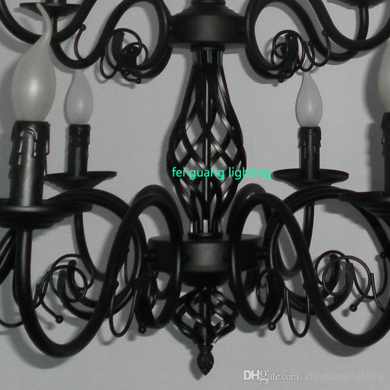 Luxury Rustic Wrought Iron Chandelier E14 Candle Black Vintage Antique Home Chandeliers For Living room European lamp ZG8042#
