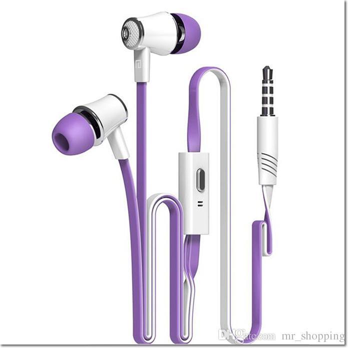 Langston JM21 Super Bass In-Ear Earphone 3.5mm Jack Stereo Headphone 1.2m Flat Cable con micrófono para iPhone 6 6 Plus 5 5S