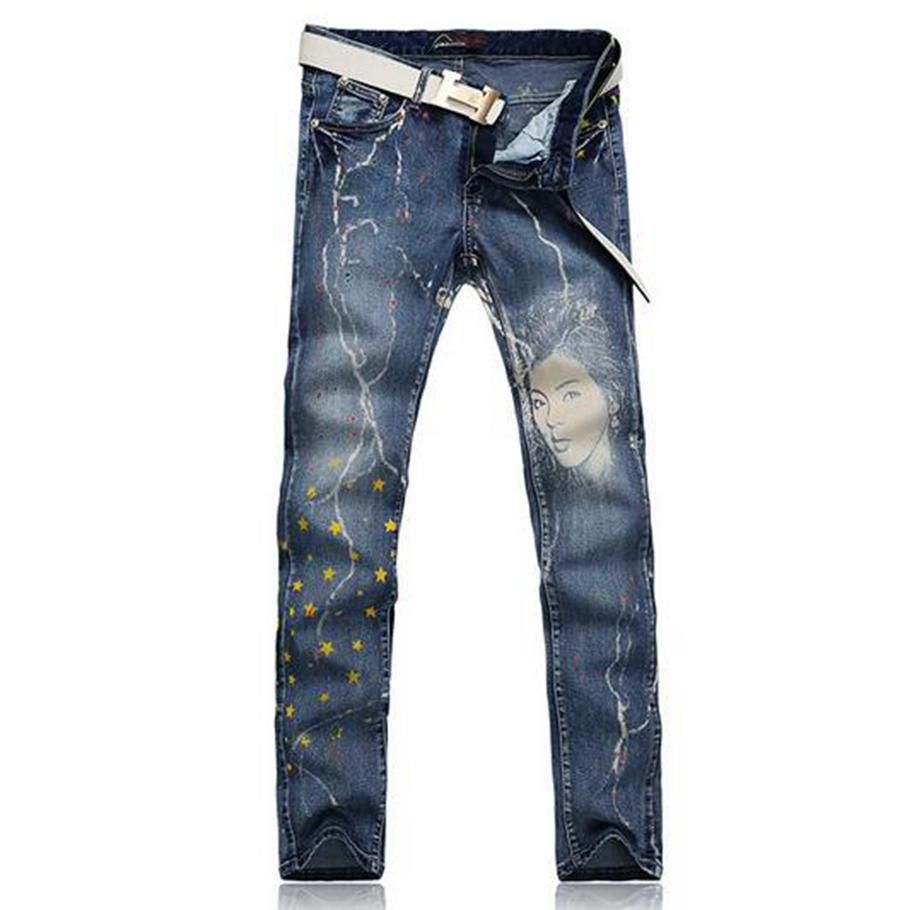 Men leisure fashion trend in the new character han edition show thin cotton denim blue print straight trousers /28-38