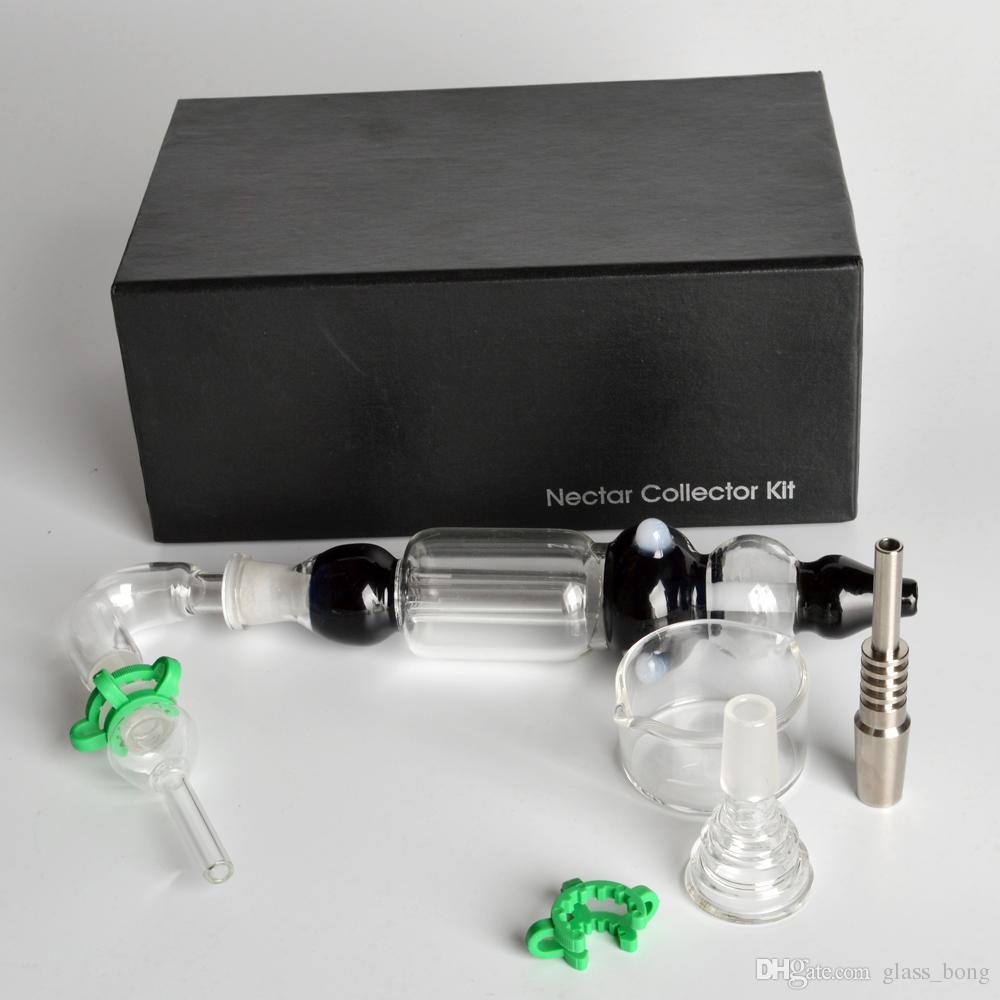 grossiste Nectar Collectors kits avec quartz sans dôme Nail 14mm nector collector plateformes de forage en verre bangs eau Tuyaux en verre