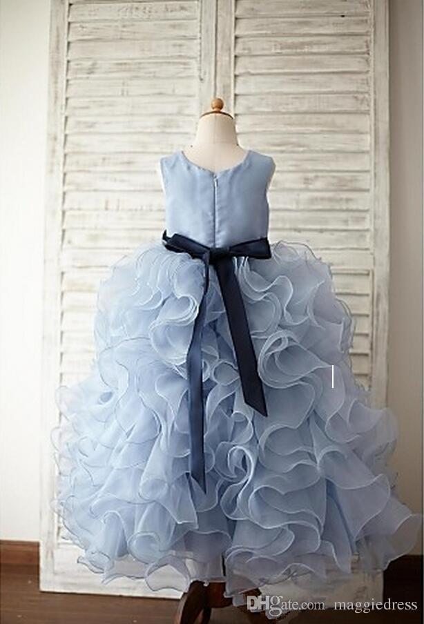 2016 Beautiful Flower Girls' Dresses Ball Gown Jewel Floor-Length Girl Gowns Hand Made Flowers Tiered Ruffles Kid Dress Organza