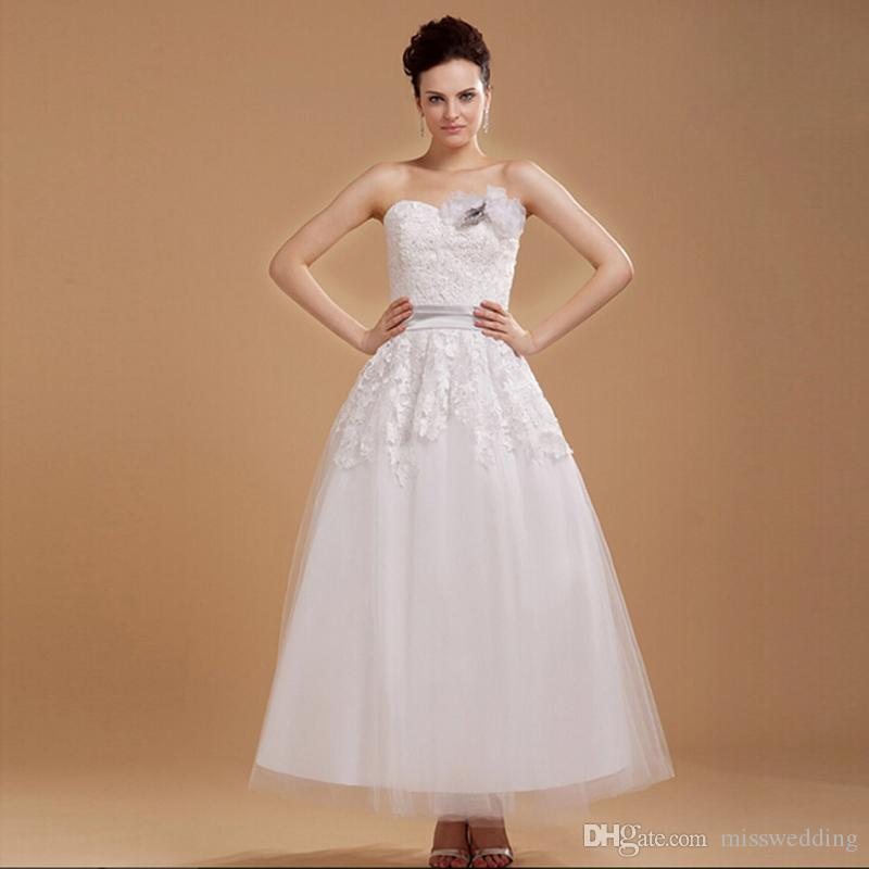 Ankle Length White Tulle Short Wedding Dress With Lace Flower
