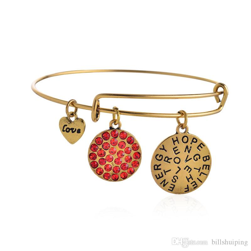 Wholesale New crystal love Charm bracelets Wiring expandable bangles band cuffs women statement jewelry