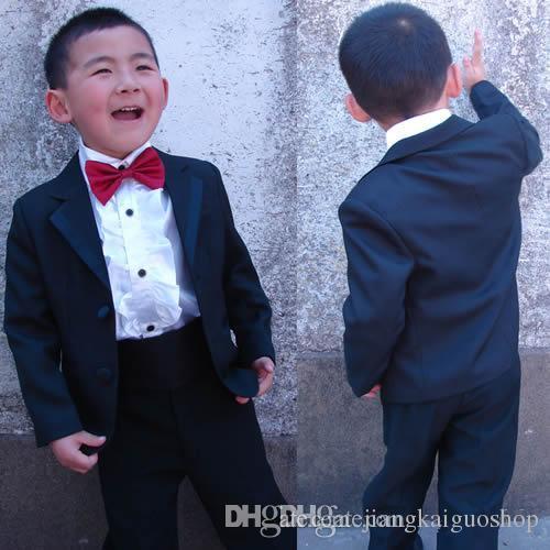 Tenue de cérémonie pour garçon Noir Deux boutons Bébé Petit Enfant Grand Garçon Garçon Garçon Habillé Tuxedo Veste + Pantalon + Noeud Papillon Q13