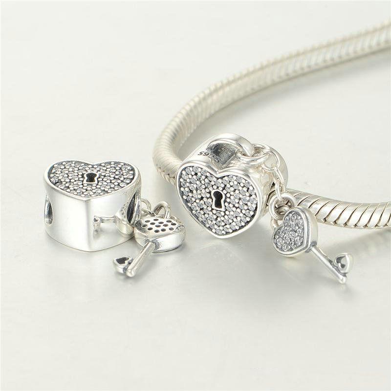 Coração lock encantos pingente s925 jóias de prata esterlina para as mulheres se encaixa bracelete e colar 791429cz