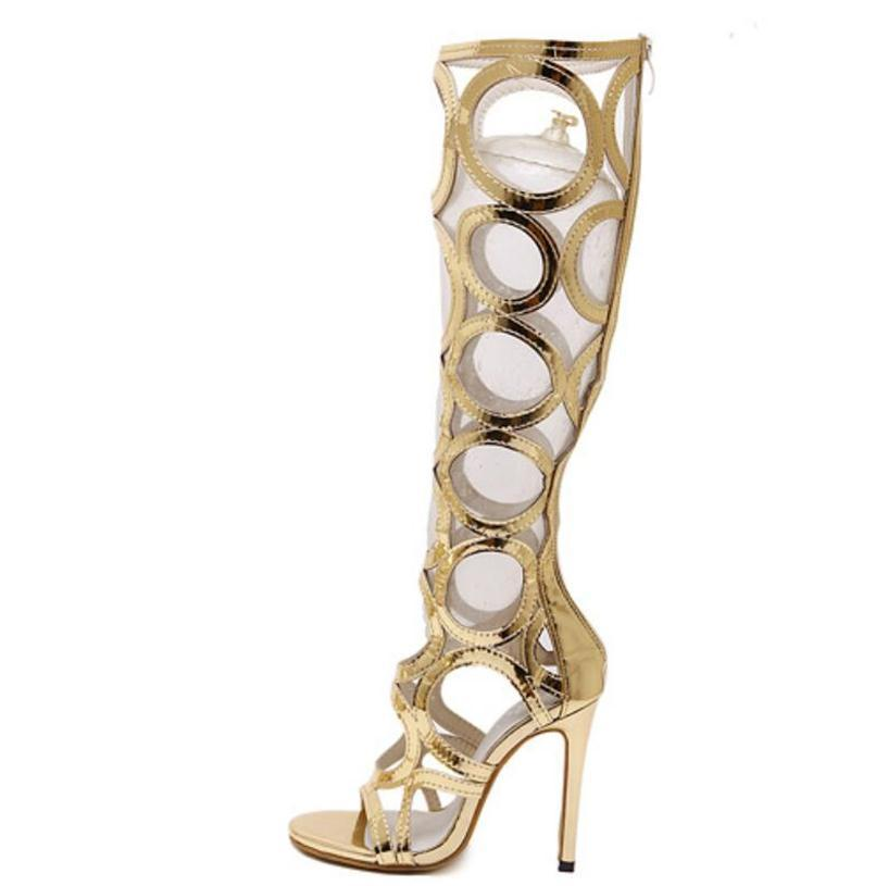 cebf588f3814 Vogue Gladiator Gold Sandals Knee High Cool Boots Women Cut Outs 11cm High  Heel Sandals Woman Shoes Evening Party Tacones Mens Boots Thigh High Boots  From ...