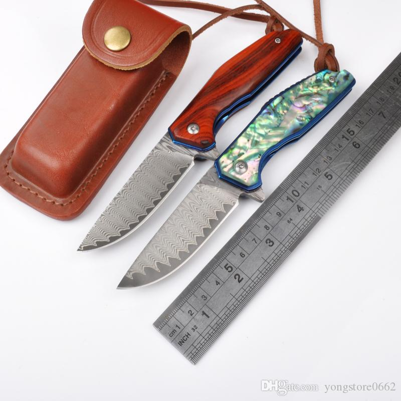 NEW VOLTRON tactical folding knife Blade Imported Damascus steel Sand light handle treatment Red sandalwood Red sandalwood Abalone shells