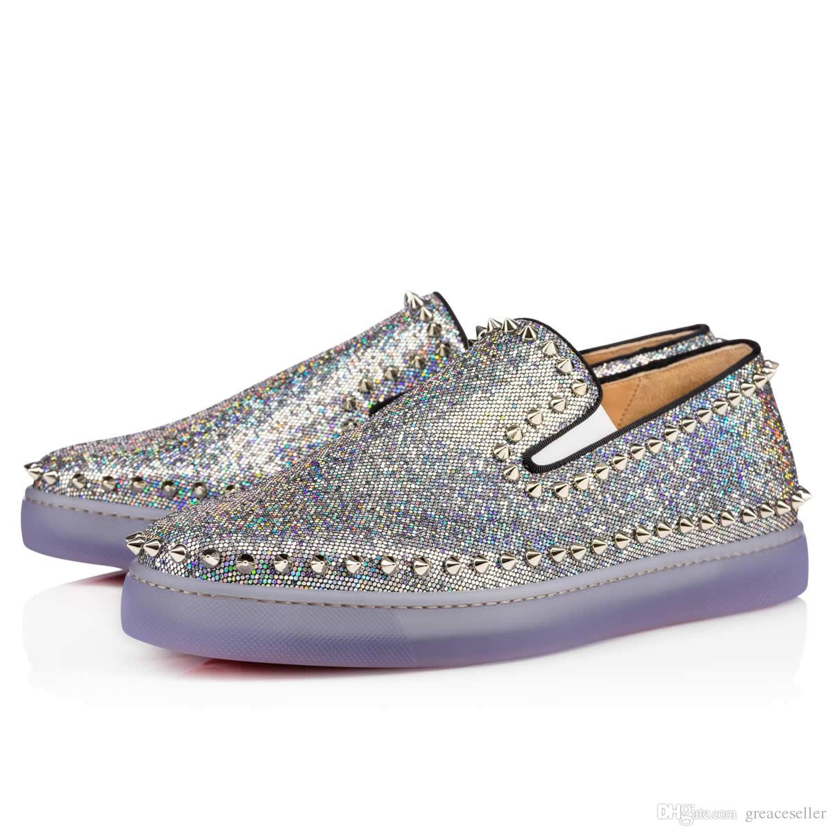 Hot Womens Ladies Casual Beads Slip On Rivet platform Sneakers Glitter Shoes