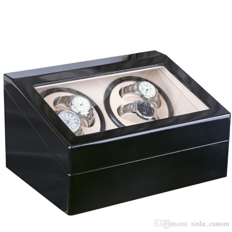 Глобальный Плагин Использовать Черный Дерево Поверхность Часы Моталки Коробка Внутренний Бархат Автоматическое Вращение 4 + 6 Часы Моталки Футляр Для Хранения Дисплей Часы Моталки Коробка