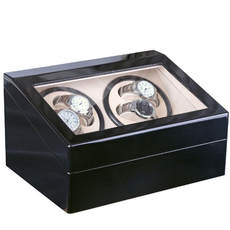 Global Plug Use Black Wood Surface Watch Winder Box Inner Velvet Automatic Rotation 4+6 Watch Winder Storage Case Display Clock Winder Box