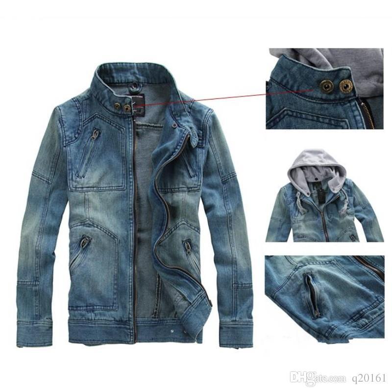 Casual Denim Jacket Men 2017 New Large Size M -5XL Slim Retro Motorcycle Denim Coat Cappuccio monocromatico Gentlemen Jeans Giacche