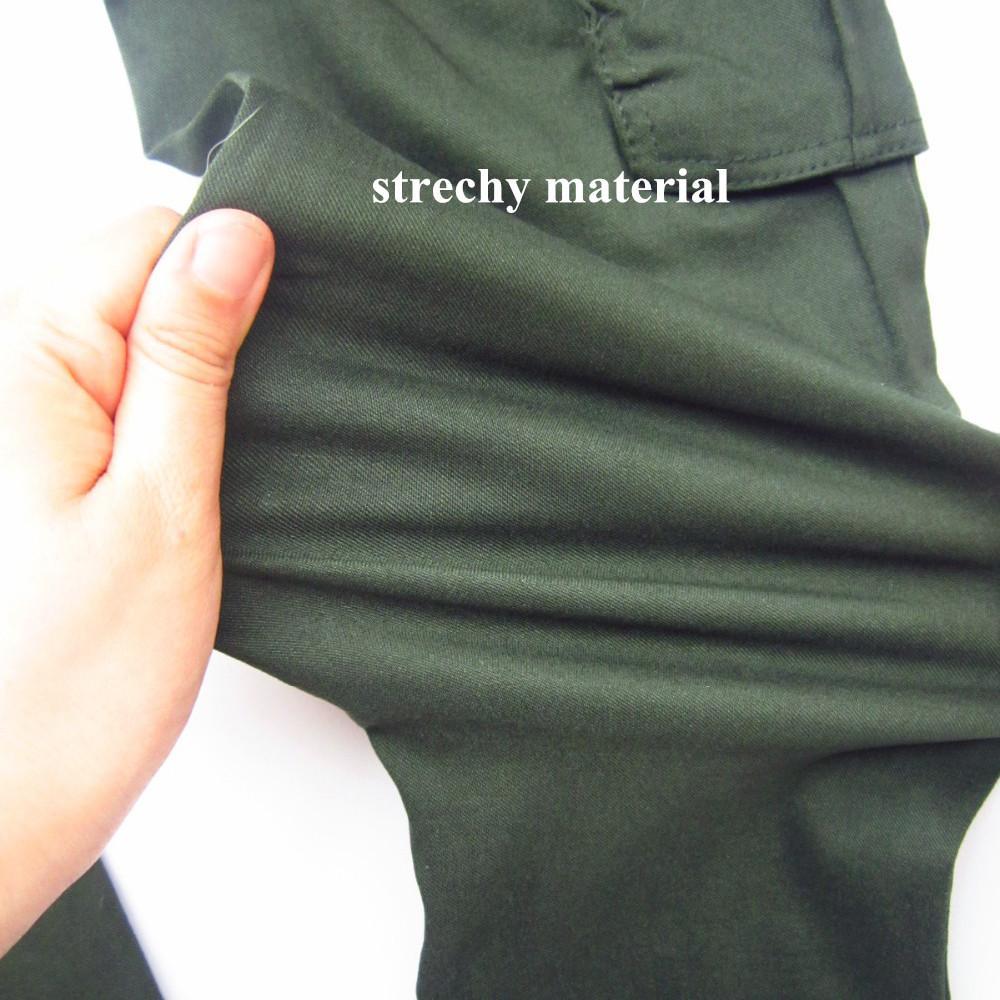 Yuqung Damska Armia Zielone Spodnie Casual Kieszonkowy Kobiety Ołówek Spodnie Damskie Sznurek Pełna długość Długie Spodnie Skinny Capris