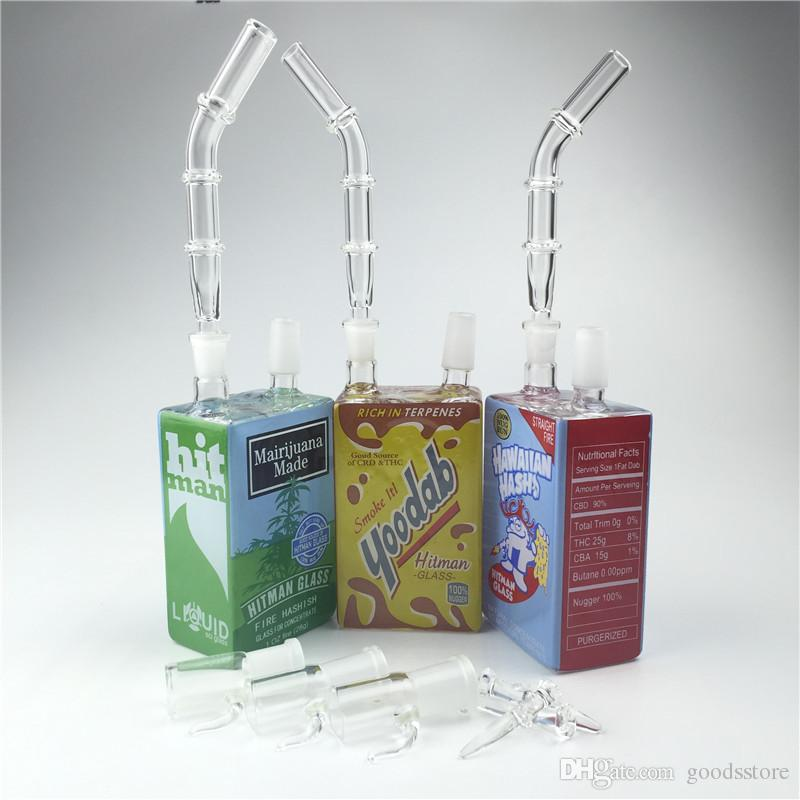 New 14mm Colorful Glass Bong Liquid Sci Water Pipes for Smoking Mini Oil Rig with Green Blue Yellow Removable Bongs
