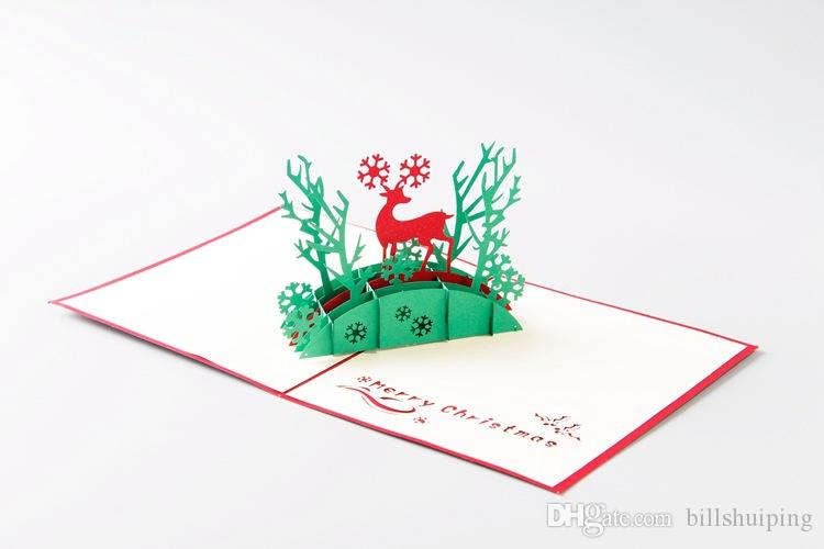new Handmade Christmas Cards Creative Kirigami & Origami 3D Pop UP Greeting Card with Santa Ride