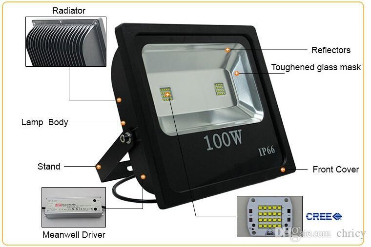 2016 nuova modalità Meanwelll ad alta potenza CE RoHS IP65 illuminazione a LED esterni inondazione 100W luci industriali dispositivo AC85-265V Building Park Square