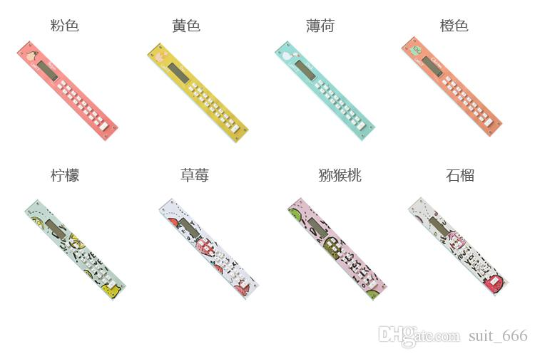 Livraison gratuite whiilesale Étudiants Calculatrice De Poche Calculatrice De Poche Corée Papeterie bande dessinée règle étudiant led Batterie Calculator