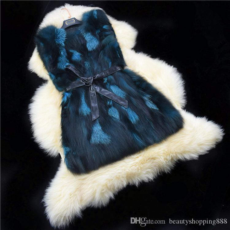 Kadın sonbahar kış lüks gerçek doğal tilki kürkü tam postu geçiş rengi kürk kolsuz ceket yelek sıcak orta uzun casacos