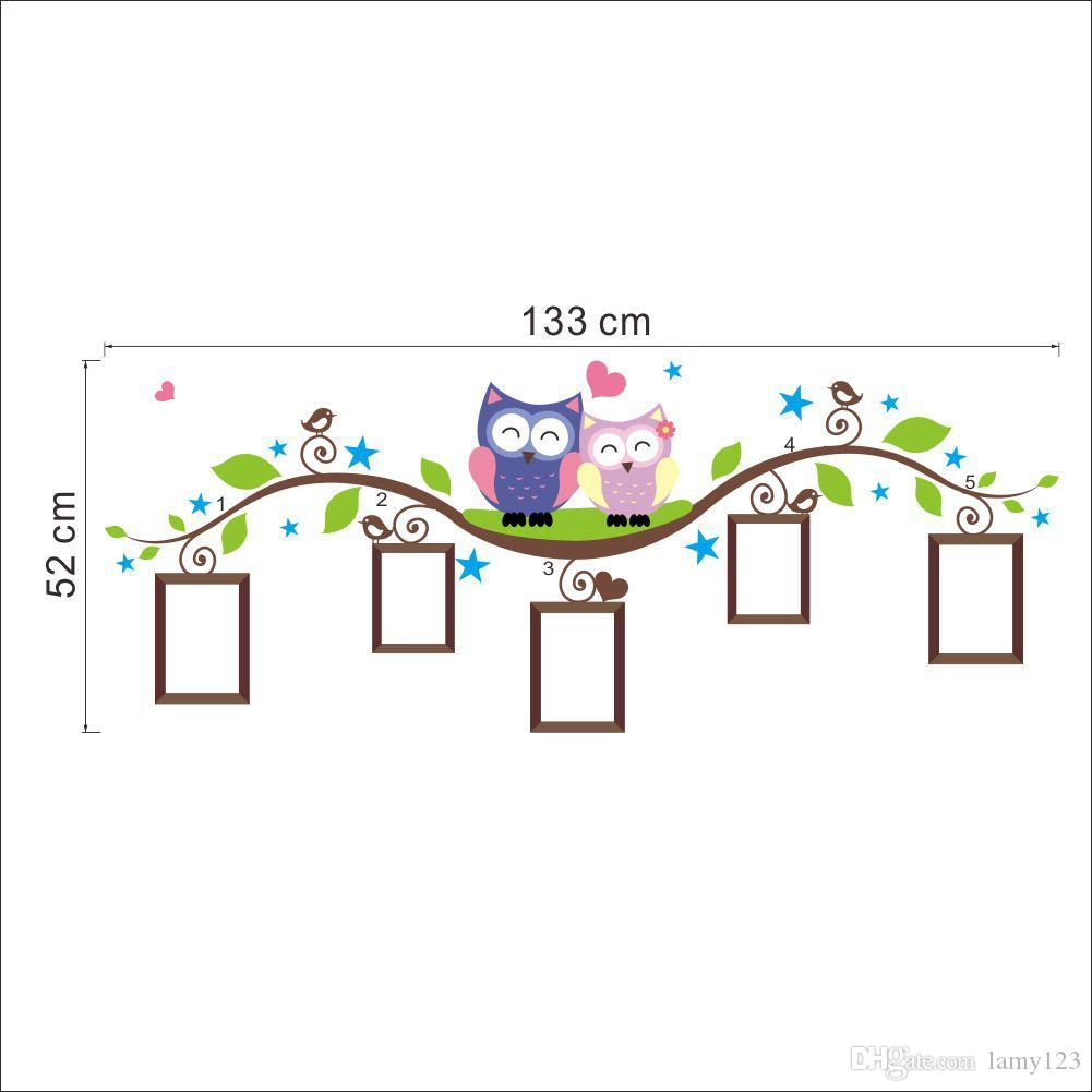 DIY Cartoon Owls on the Branches Photo Frame Wall Stickers Living Room Bedroom Backdrop Decoration Wall Decor Removable Wallpaper 133x52cm