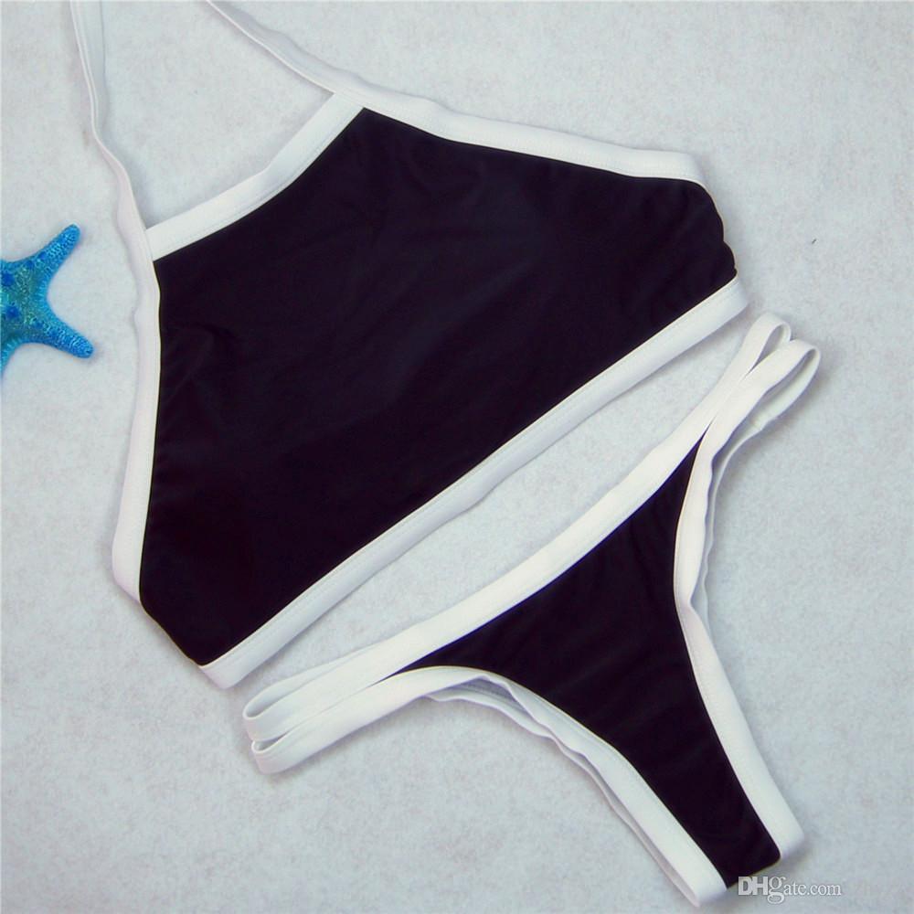 Новые женщины полосатый / плед низкой талией треугольник бикини набор повесить высокой шеи Холтер купальники молодая девушка купальник купальный костюм