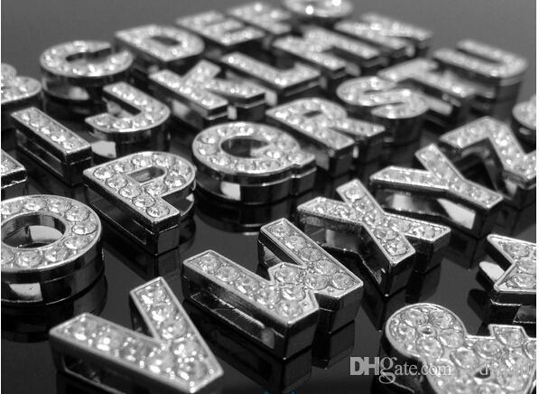 Wholesale-/ geben Verschiffen-Kristallsilber-Metallcharme-Alphabet-Buchstabe A-Z frei, die Medaillon-Charme für Glas Medaillon schwimmen